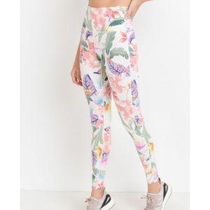 NEW Highwaist Floral Lei Print Full Leggings